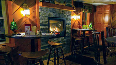 bar area with a fireplace