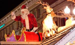 santa on parade float