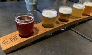 glasses of beer at big slide brewery
