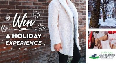 """""""win a holiday experience"""" written next to a woman wearing a sweater"""