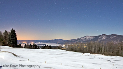 top of the world overlooking lake george in winter