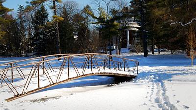 crandall park bridge in the winter