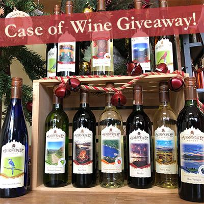 bottles of wine with information on entering a giveaway