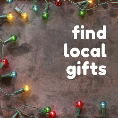 holiday lights with text that says find local gifts