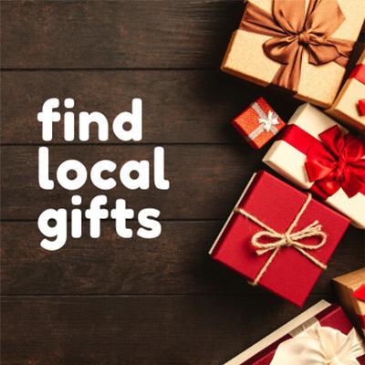 tiny presents with text that says find local gifts
