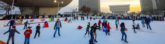 people on outdoor ice skating rink