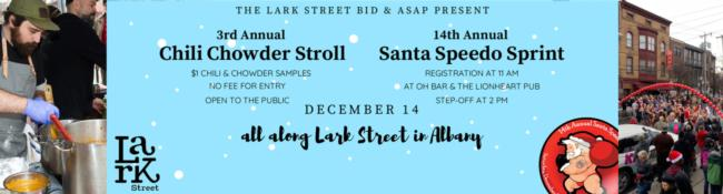 blue banner with details of lark street's upcoming events