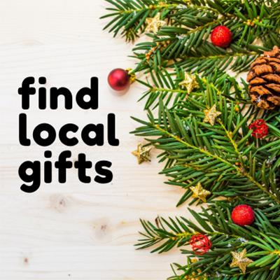 holiday background with text that says find local gifts