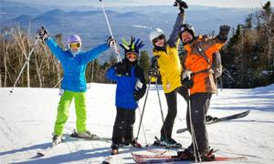 family of skiers at gore mountain