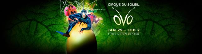 three cirque du soleil actors with ovo show title and dates
