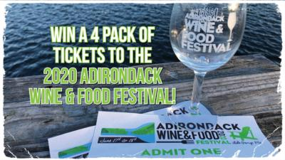 """wine glass and """"win a four pack of tickets to 2020 Adirondack Wine & Food Festival"""""""