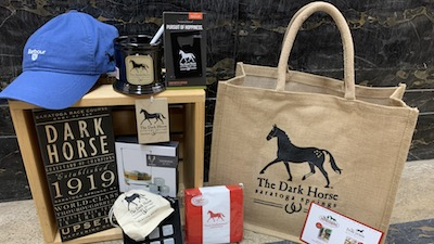 dark horse mercantile gift bag with gift items