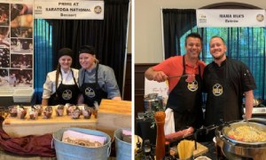 side by side photos of chefs at food stations
