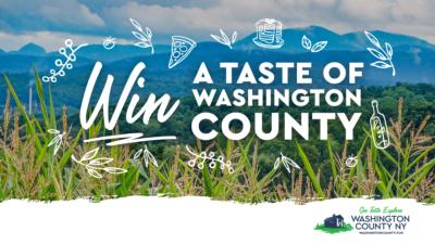 "Graphic that reads ""Win a taste of Washington county"" with mountains in the background"