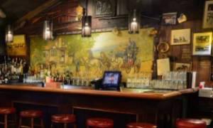 cozy bar with bar stools