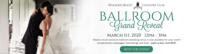 married couple with text about wolferts roost ballroom grand reveal event