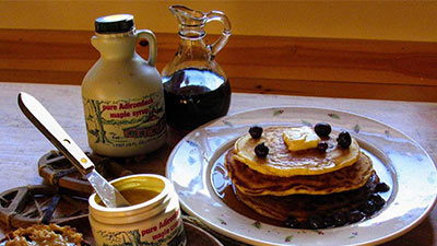 pancake breakfast with maple syrup and maple cream
