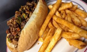 variation on Philly cheesesteak with fries