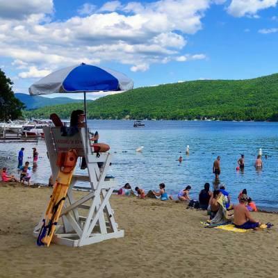 beach scene on Lake George