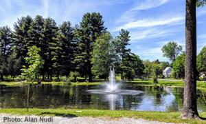 fountain in crandall pond on a sunny day