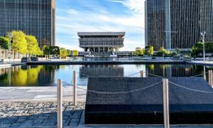 view of the empire state plaza buildings