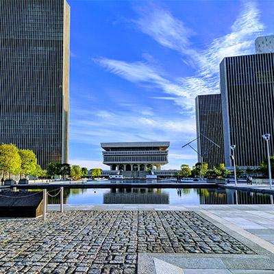 empire state plaza on a sunny day