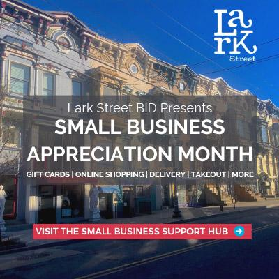 businesses on lark street with a banner advertising small business appreciation month
