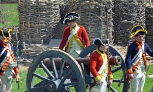 reenactment soldiers and cannon