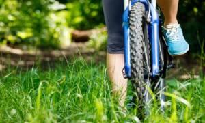 biking on grass