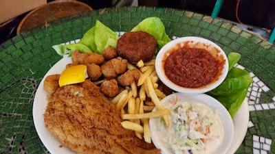 fish and chips on the patio at McGeary's Irish Pub