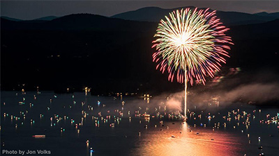 fireworks over lake george