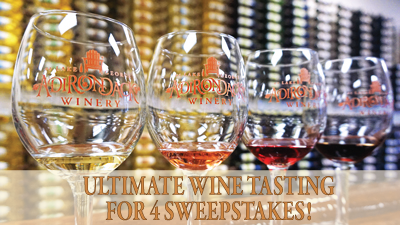 "four Adirondack Winery wine tasting glasses with the words ""Ultimate Wine Tasting for 4 Sweepstakes overlaid"""