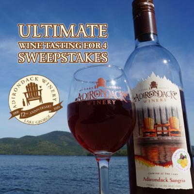 wine glass, bottle, and text that says win an ultimate wine tasting for 4 sweepstakes