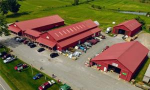 aerial view of walkers farm, home, and tack