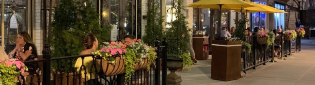 outdoor tables at the adelphi hotel