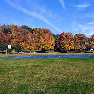 basketball court with fall trees in the background