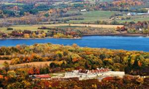 aerial view of Fort Ticonderoga in the fall