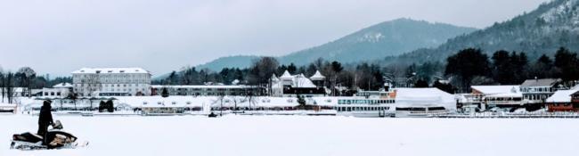 snowmobiler on lake