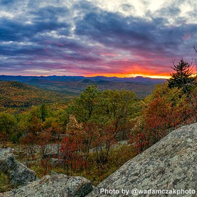 sunrise from cat mountain summit in the fall
