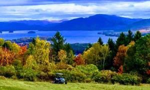 golf cart, fall foliage