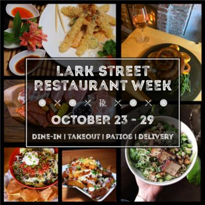 lark street restaurant week dates with food items and shots of the street itself
