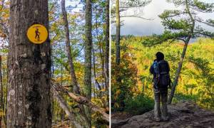 split image with trail marker and hiker at summit