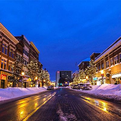 downtown glens falls at night in the winter
