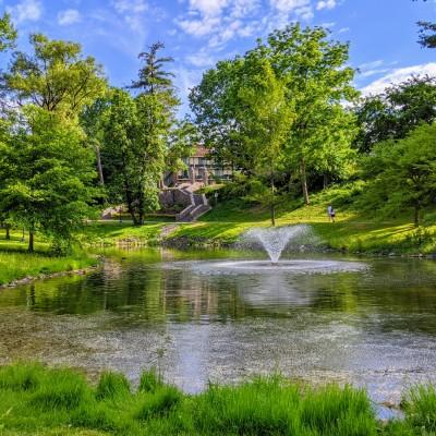 view of fountain in pond at a park