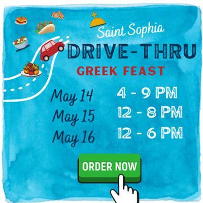 banner advertising st. sophia's drive-thru greek feast