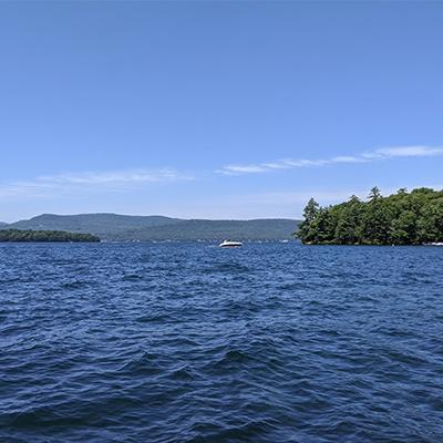 boat on lake george in the summer