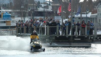 snowmobile skip participant on lake george