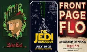 posters for robin hood, the jedi handbook, and front page flo